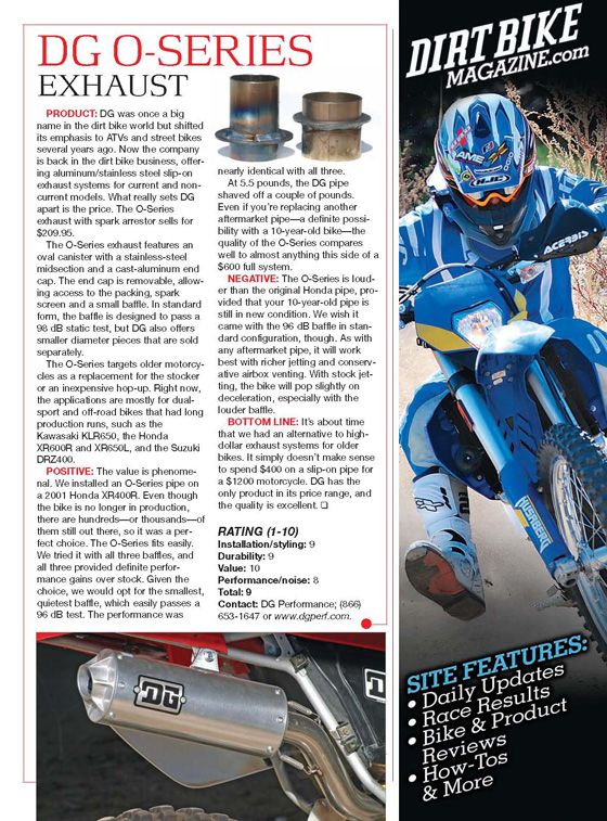DG O-Series Exhaust Tested by Dirt Bike Magazine!